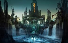 Картинка город, корабль, арт, водопады