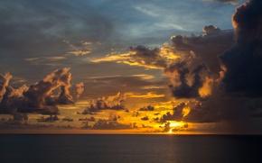 Обои закат, море, горизонт, облака