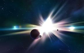 Обои звезды, сияние, планета, вспышка, спутники
