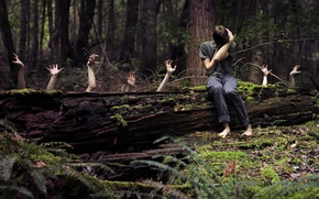 Обои руки, страхи, ситуация, лес, парень