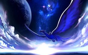 Картинка небо, звезды, облака, полет, ночь, дракон, планета, арт, всадник