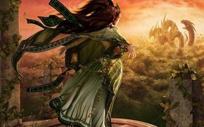 Обои дракон, девушка, платье