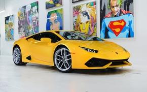 Картинка Lamborghini, Front, Yellow, Studio, Picture, Supercar, Huracan, LP610-4, Ligth
