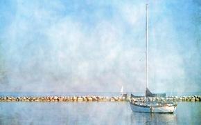 Картинка пейзаж, озеро, стиль, лодка