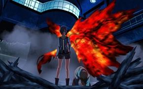 Картинка girl, blood, game, monster, anime, wings, red eyes, pretty, predator, assassin, asian, Ken, cute, manga, …
