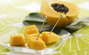 Обои дольки, шпажки, кусочки, тропические фрукты, папайя