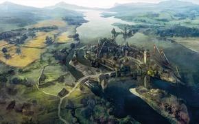 Обои Ведьмак 3: Дикая Охота, The Witcher 3: Wild Hunt, пейзаж, novigrad city, novigrad, art