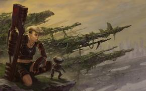 Картинка девушка, оружие, робот, арт, постапокалипсис, Javier Charro