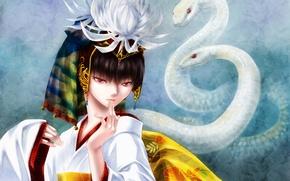 Картинка змеи, девушка, улыбка, танец, art, nerisu