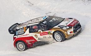 Картинка Зима, Снег, Ситроен, Citroen, DS3, WRC, Rally, Total, M. Hirvonen, J. Lehtinen