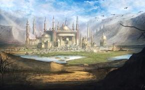Картинка пейзаж, горы, долина, фэнтези, арт, fantasy, landscape, art, mountains, castle, valley, Taj Mahal, Тадж Махал, …