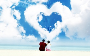 Картинка любовь, сердце, Облака, пара