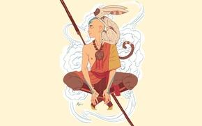 Картинка магия, воздух, монах, татуировка, лемур, посох, Avatar, Аватар, The Last Airbender, Момо, Аанг, The Legend ...
