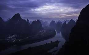 Обои утро, Li River, morning, sunrise, Yangshuo County, Гуйлинь, Guilin, Китай, China, рассвет