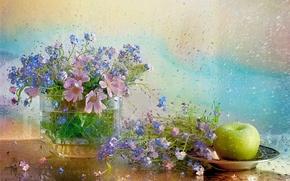 Картинка вода, цветы, тарелка, ваза, натюрморт, незабудки, still life, космея, яблока