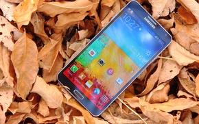 Картинка Листья, Android, Андроид, Galaxy, Телефон, Samsung, Smartphone, Telephone, Note 3, Смартфон