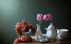 Картинка цветок, ягоды, виноград, посуда, ваза, натюрморт, орхидея, still life