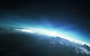 Картинка свет, горы, планета, восход, солнце, небо, звезды, облака
