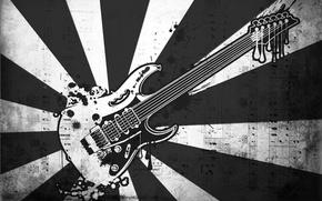 Картинка ноты, музыка, черно-белая, вектор, Гитара