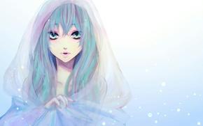 Обои hatsune miku, снег, вокалоид, капюшон, накидка, лицо, рисунок, девушка, vocaloid