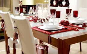 Обои снежинки, дизайн, стиль, комната, подарок, шары, интерьер, свечи, бокалы, красивое, стола, декорация, оформление, элегантный, бело-красное, ...