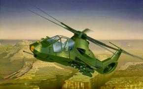 Картинка war, art, airplane, helicopter, RAH-66 Comanche