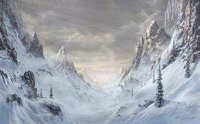 Картинка зима, лес, снег, деревья, пейзаж, горы, природа, скалы, ель, арт, Fel-X