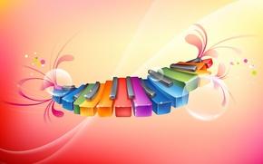 Картинка музыка, радуга, Клавиши