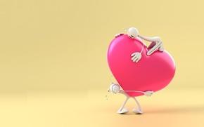 Картинка рендеринг, настроение, подарок, сердце, человечек, валентинка