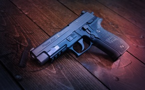 Картинка пистолет, оружие, доски, SIG-Sauer, P226
