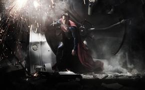 Обои плащ, супермэн, superman, искры, супергерой, супермен, мужчина, костюм