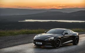 Картинка закат, Aston Martin, вечер, астон мартин, Vanquish, ванквиш, 2014, Carbon Black