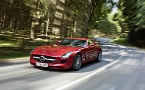 Обои красный, SLS AMG, Mercedes, Benz, скорость
