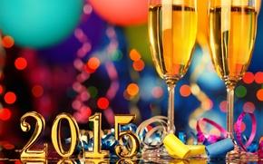 Картинка новый год, бокалы, шампанское, серпантин, 2015