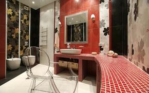 Обои комната, плитка, раковина, зеркало, стул, туалет, ванная