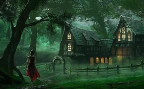 Картинка лес, поза, Девушка, платье, домик