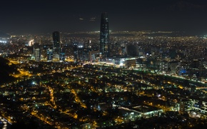 Картинка ночь, night, Чили, noche, Сантьяго, Santiago de Chile
