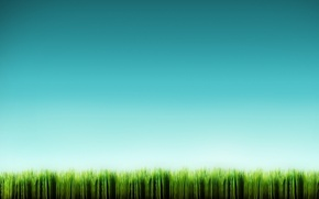 Обои синий, минимализм, Трава