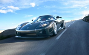 Обои Скорость, Koenigsegg CCX, Карбон, Небо, Дорога