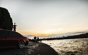 Обои машина, авто, небо, река, BMW, Тень, auto, бок, смотра, E60, Давидыч, Smotra, Эрик Давидыч