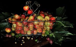 Картинка листья, ягоды, корзина, натюрморт, крыжовник, черешня
