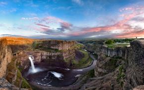 Обои водопад, река, каньон, природа