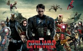Картинка Сокол, Captain America, spider man, Черная Вдова, ник фьюри, Ant-Man, Соколиный Глаз, Вижн, Воитель, Iron-Man, …
