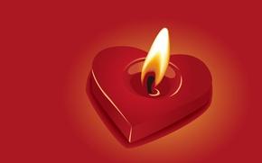 Обои огонь, Сердечко, свечка