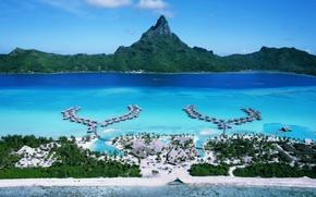Картинка отдых, релакс, путешествие, тихий океан, бунгаловый отель-люкс, aerial view of the island of bora bora, …
