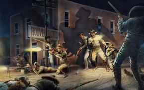 Картинка ночь, город, рисунок, бой, Мексика, арт, солдаты, стычка, повстанцы, войск, правительских