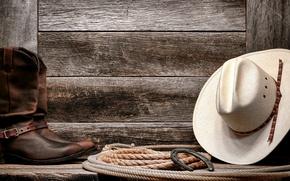 Картинка wall, Hat, boots, rope, Horseshoe