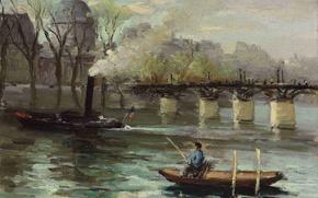 Картинка пейзаж, мост, лодка, картина, катер, Марсель Диф, Сена в Париже, Pont des Arts and Institut …