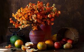 Картинка цветы, фото, картина, фрукты, Натюрморт