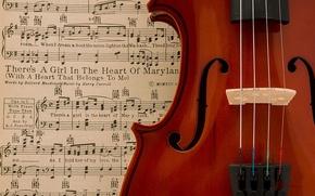 Картинка ноты, музыка, секрипка